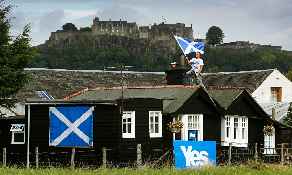 A yes supporter decorates his home - http://www.theguardian.com/uk-news/2014/sep/08/scotland-future-referendum-excitement